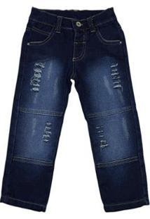 Calça Infantil Ano Zero Squash Bolso Lapela Rasgada Masculina - Masculino-Jeans