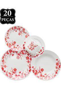 Aparelho De Jantar E Chá Oxford Cerâmica Donna Jardim Oriental 20 Pçs Branco/Vermelho