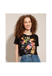 Camiseta Cropped De Algodão Tucano Manga Curta Decote Redondo Preta