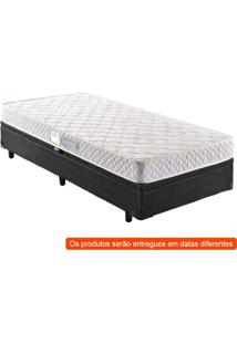 Cama Box Basic Baú Com Colchão Solteiro Quality Plus D23 Branco E Preta