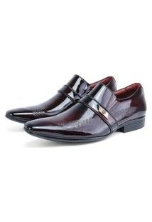 Sapato Social Luxo Envernizado Italiano Em Couro Rebento Bordô