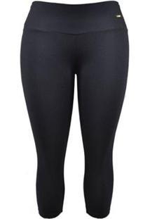 Calça Corsário Supplex Plus Size Best Fit - Feminino-Preto