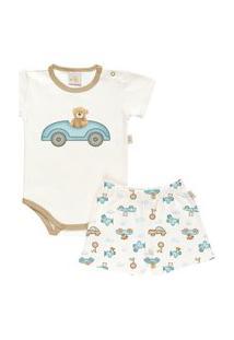 Pijama Curto Baby Em Suedine - Anjos Baby Bege Amarelado
