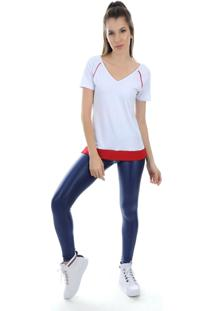 Camiseta Manga Curta Pinyx Shine Branco E Vermelho - Tricae