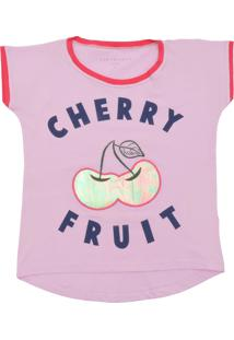 Camiseta Fun Friends Kids Curto Menina Frutas Rosa