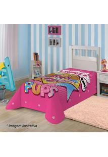 Manta Fleece Solteiro Patrulha Canina®- Pink & Amarela