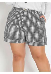 Short Estilo Alfaiataria Xadrez Plus Size