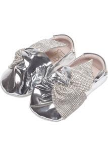 Sapato Maria Caramelo Strass Metalizado Prata