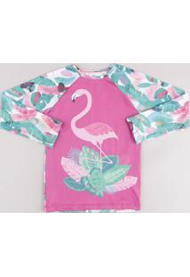 Blusa De Praia Infantil Raglan Flamingo Estampado De Folhagem Manga Longa Com Proteção Uv50+ Off White