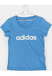 Camiseta Infantil Adidas Estampa Logo Yg Lin Tee Feminina - Feminino-Azul Claro