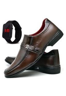 Sapato Social Fashion Com Relógio Led Dubuy 827El Marrom