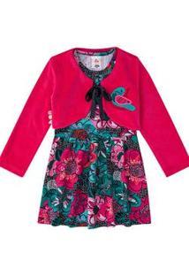 Vestido Infantil Com Bolero Flores Zig Zig Zaa
