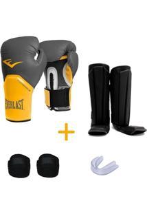 Kit Muay Thai Luva Everlast 16Oz Caneleira Bandagem Bucal - Unissex