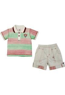 Conjunto Polo Shorts Meia Malha Oxford Menino Fluminense Reve Dor - 8 Anos - Masculino