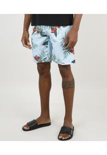 Bermuda Surf Masculina Estampada Floral Com Bolso Azul Claro