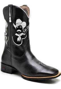 Bota Texana Ded Calçados Bico Quadrado Cano Longo Bordado Tião Carreiro Masculina - Masculino-Preto