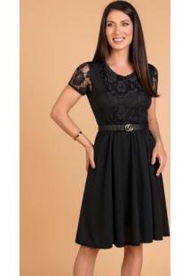 Vestido Com Elástico Preta Moda Evangélica