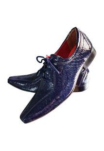 Sapato Masculino Italiano Oxford Em Couro Art Sapatos Azul Escamas
