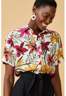 Amaro Feminino Camisa Manga Curta Viscose, Floral Color