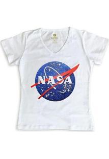 Camiseta Gola V Geek Cool Tees Nasa Vintage Feminina - Feminino-Branco