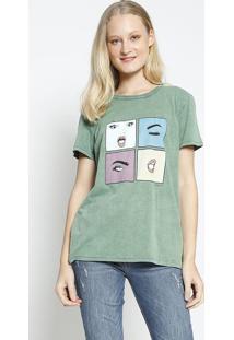 Camiseta ''Mood'' - Verde & Azul - Colccicolcci