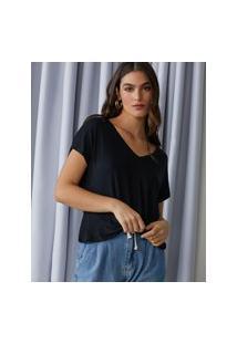 Amaro Feminino T-Shirt Básica Viscose Decote V, Preto