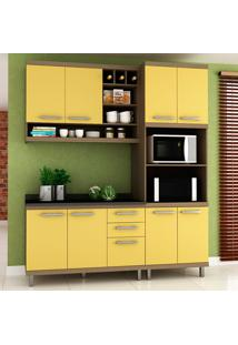 Cozinha Compacta New Vitoria 13 Avelã Tx/Maracujá - Hecol