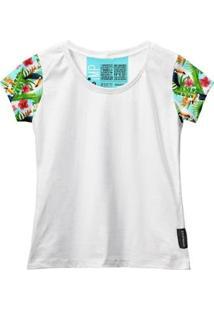 Camiseta Baby Look Feminina Algodão Estampa Animal Estilo - Feminino-Branco+Verde