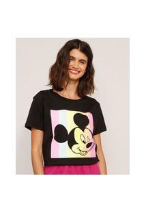 Camiseta De Algodão Mickey Mouse Manga Curta Decote Redondo Preta