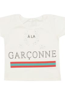 Camiseta Fun Friends Kids Menina Escrita Off-White