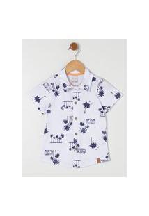 Camisa Manga Curta Infantil Para Menino - Branco