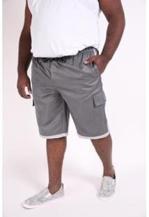 Bermuda Kauê Plus Size Microfibra Bolso Lateral Masculina - Masculino-Chumbo