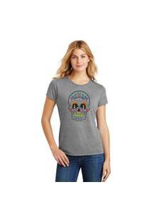 Camiseta Feminina T-Shirt Caveira Mexicana Sugar Skull