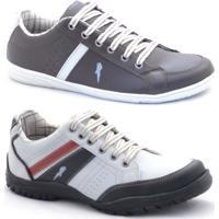 40da7aa63df Kit Sapatênis Polo Blu Casual Masculino - Masculino-Cinza+Branco