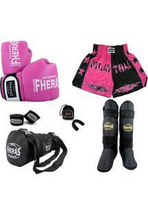 Kit Muay Thai Orion -Luva Bandagem Bucal Caneleira Bolsa Shorts Bicolor 08 Oz - Feminino