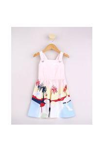 Vestido Infantil Estampado De Coqueiros Alça Média Coral