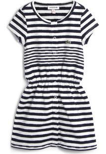Vestido Lacoste Kids Listrado Branco/Azul-Marinho