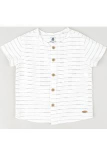 Camisa Infantil Listrada Manga Curta Branca