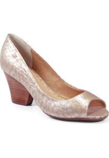 Peep Toe Couro Dourada - 38 (030.162E6750-00028-38)