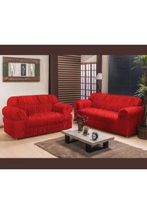 Capa De Sofá América 2 E 3 Lugares Elasticada Tecido Malha Gel Vermelho Borda Bordados Enxovais