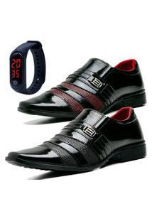 2 Pares Sapato Social Fashion Com Relógio Led Fine Dubuy 813El Preto
