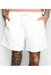 Shorts Linho Barche Liso Masculina - Masculino-Branco