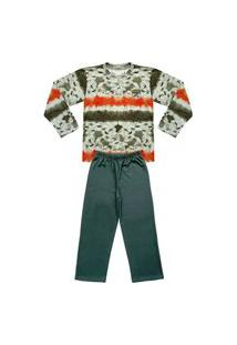 Pijama Juvenil Look Jeans Longo Tie-Dye Verde