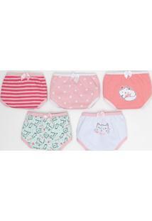 Kit Com 5 Calcinhas Infantis Estampa Gato - Tam 2 A 14