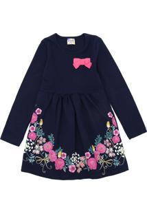 Vestido Brandili Infantil Flores Azul-Marinho