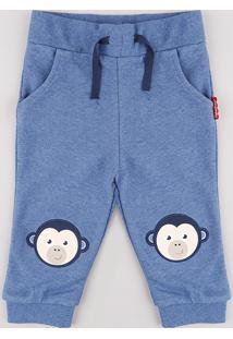 Calça Infantil Fisher Price Macaco Em Moletom Azul
