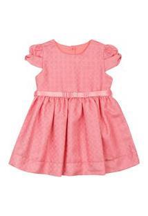 Vestido Infantil Paraiso Jacquard Com Cinto De Cetim Coral
