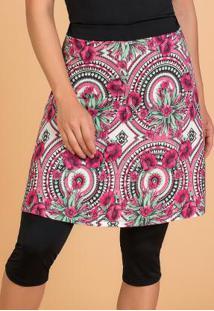 Shorts Saia Moda Evangélica Fitness Floral
