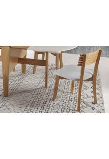 Cadeira Moderna De Madeira Boni Ripada - Verniz Amendoa - Tec. 154B Cinza Claro - 42X49X82 Cm