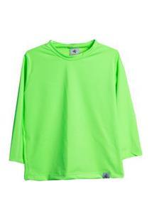 Camisa Infantil Peixinho Dourado Uv50 Verde Fluor